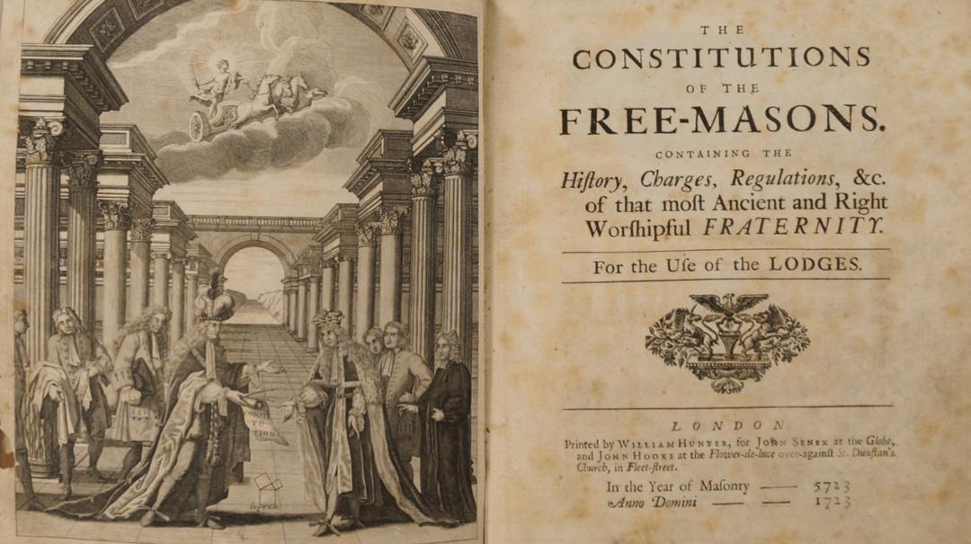 Разворот исторического издания Конституции Масонов Андерсона